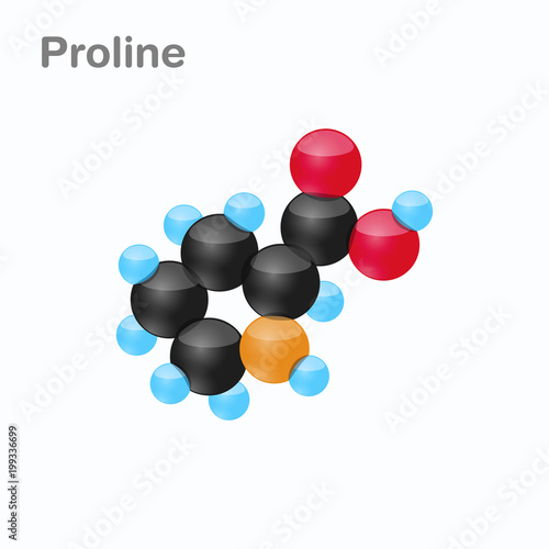Molecule of Proline, Pro, an amino acid used in the biosynthesis of proteins Fototapet
