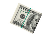 100 Dollars Isolated On A White Background , Close Up .