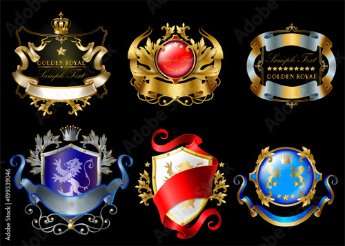 Foto  Vector set of colorful royal stickers with crowns, shields, ribbons, lions, stars isolated on black background