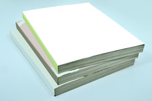 Stack Of Three Thick Magazines Or Books, Catalogs With Blank White Cover