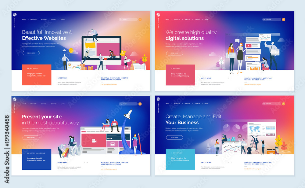 Fototapeta Set of website template designs. Modern vector illustration concepts of web page design for website and mobile website development. Easy to edit and customize.