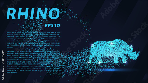 Rhino of the particles. Rhino consists of small circles Wallpaper Mural