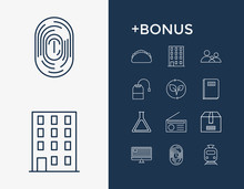 Content And Package Icon Line Set With Radio, Fingerprint And Transport. People Related Package Icon Vector Items For Web UI Logo Design.