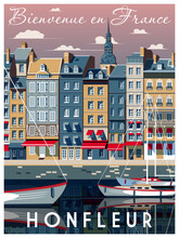A Sunny Day In The Port Of Honfleur, Normandy, France. Handmade Drawing Vector Illustration. Vintage Style. All Buildings - Customizable Different Objects.