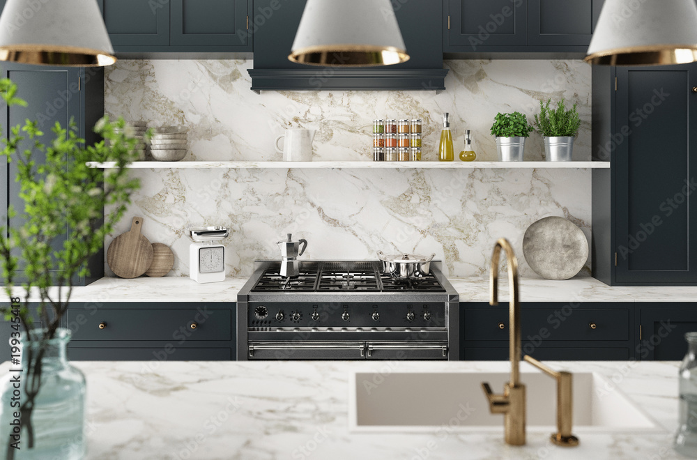 Fototapeta Cucina moderna realistica, design minimal in legno e marmo, render 3d