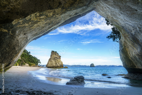 Spoed Foto op Canvas Cathedral Cove view from the cave at cathedral cove,coromandel,new zealand 50