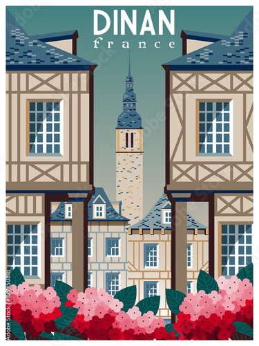 Fotomural Retro poster about traveling to Dinan, France