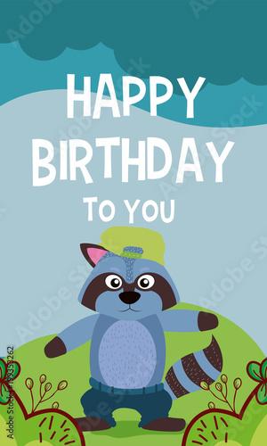 Raccoon Cute Animal Birthday Card Kaufen Sie Diese Vektorgrafik