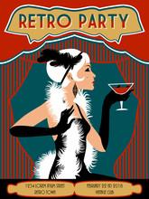 Retro Party Invitation Card. Handmade Drawing Vector Illustration. Pop Art Style.