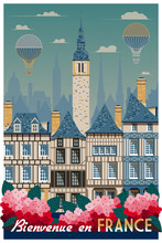 Retro Poster About Traveling To France. Handmade Drawing Vector Illustration. Vintage Style. All Buildings - Customizable Different Objects.