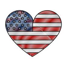 American Flag Shaped Heart Pat...