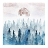 Landscape with the foggy forest and the rising moon. Watercolor illustration. - 199357812