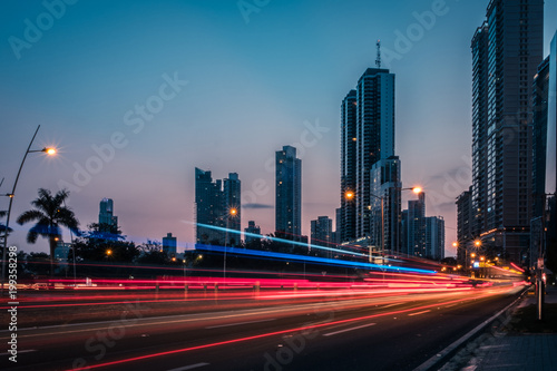 road traffic in modern city at night -  light trails, street traffic