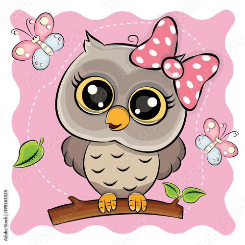 Foto op Aluminium Uilen cartoon owl with butterflies