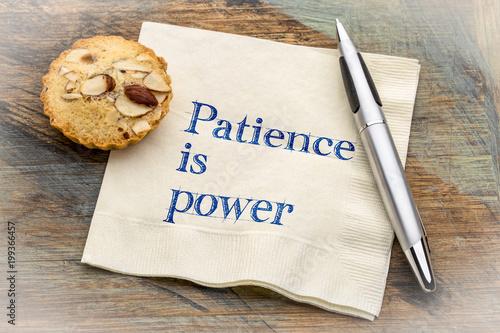 Fotografiet Patience is power - text on napkin