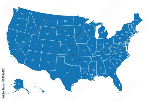 Fotografie, Obraz Map of USA with state abbreviations