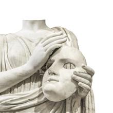 Headless Sculpture Holding Mask