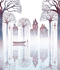 FototapetaWatercolor illustration of a town standing on stilts in water. Fog, old crooked houses, lanterns, bare trees, and an empty boat reflecting on rippled water.