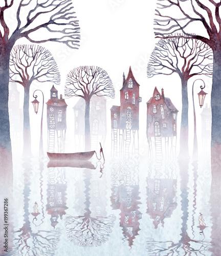 akwarela-ilustracja-miasta-stojacego-na-szczudlach-w-wodzie-mgla-stare-krzywe-domy-latarnie-nagie-drzewa-i-pusta-lodz-odbijajaca