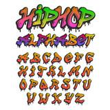 Fototapeta Młodzieżowe - Graffity alphabet vector hand drawn grunge font paint symbol design ink style texture typeset