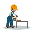 Male carpenter cutting a wooden plank with circular saw with industrial safety equipment. Industrial saw design.