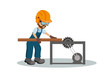 Male carpenter cutting a wooden plank with os industrial safety equipment. Industrial saw design. Vector illustration