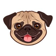 Pug Dog Cartoon Illustration. ...