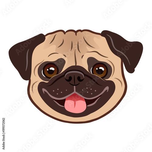Cuadros en Lienzo Pug dog cartoon illustration