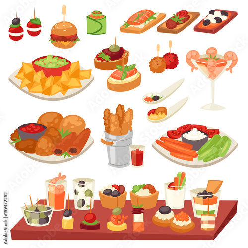 Appetizer vector appetizing food and snack meal or starter and canape illustrati Fototapeta