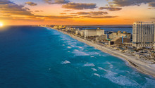 Cancun Sunset With Clouds