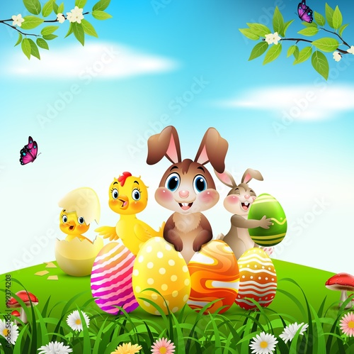 Wall Murals Ranch Easter Bunny with baby chicks and duckling on a meadow
