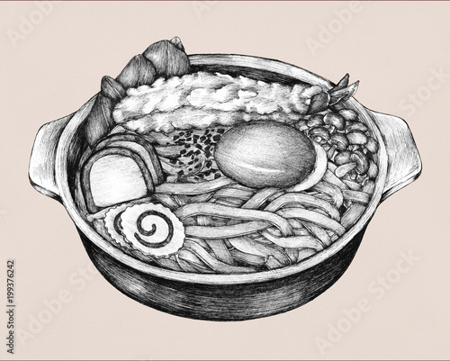 Hand drawn udon Japanese cuisine Canvas Print