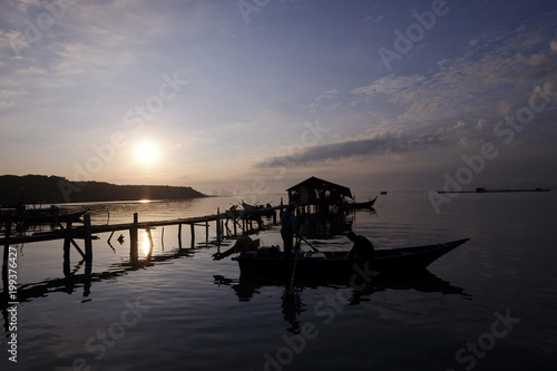 Wall Murals A beautiful sunrise at the jetty near the fihserman village Penang Malaysia