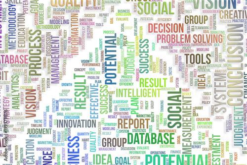 Biznesowych tło słów chmura, dobra dla graficznego projekta. Typografia, tło, twórczość i komunikacja.