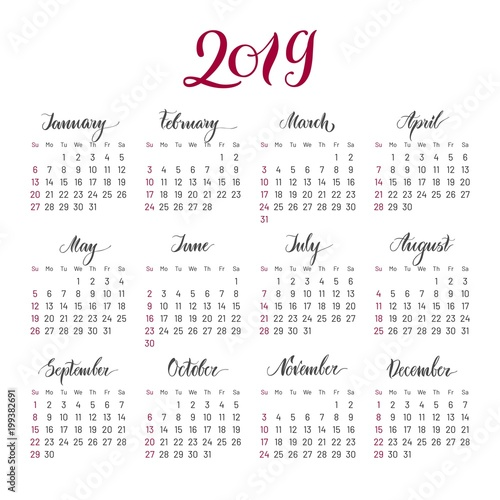 Plain wall calendar 2019 year, lettering, flat. Simple ...