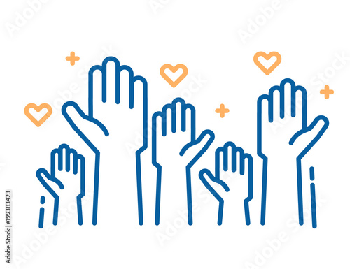 Fototapeta Volunteers and charity work. Raised helping hands. Vector thin line icon illustrations with a crowd of people ready and available to help and contribute. Positive foundation, business, service. obraz