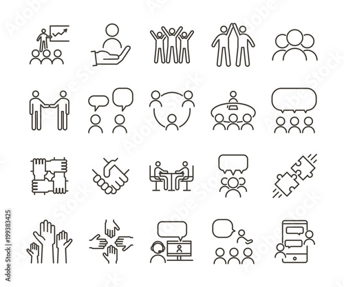 Obraz Vector thin line icon illustration set. Teamwork and people interacting, communicating and working together for business companies or other nonprofit organizations. - fototapety do salonu