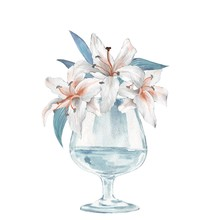 Glass Vase With Flowers. Lilie...