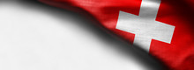 Abstract Fabric Switzerland Flag On White Background