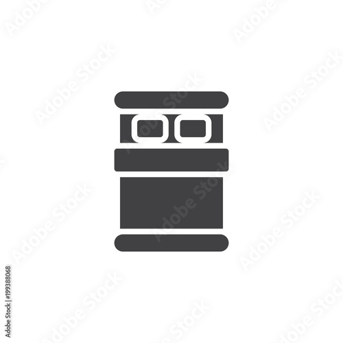Double Bed Top View Vector Icon Filled Flat Sign For Mobile Concept