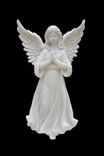 Angel Statues Isolated On Blac...