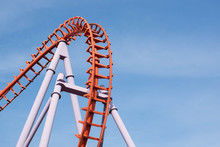Roller Coaster On Blue Sky Bac...