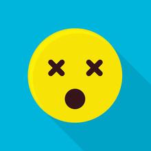 Dead Emoticon Icon, Flat Style