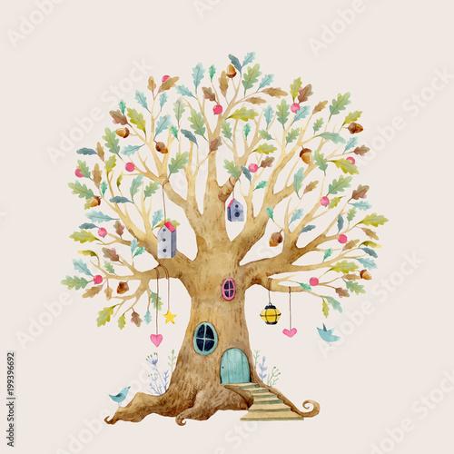 Dom drzewo wektor akwarela
