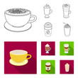 Mocha, macchiato, frappe, take coffee.Different types of coffee set collection icons in outline,flat style vector symbol stock illustration web.
