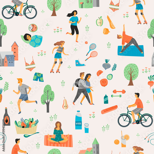 Healthy lifestyle. Seamless pattern. Wall mural
