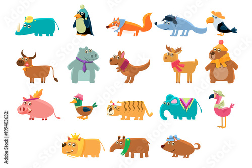 Cute animals big set in bright colors childish vector illustration