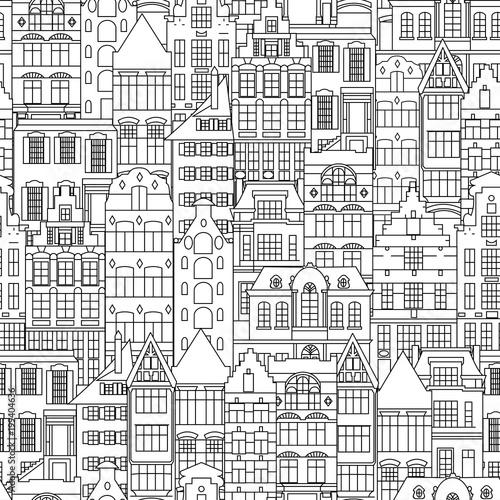 jednolite-wzor-holland-starych-fasad-domow-tradycyjna-architektura-holandii-wektor-czarno-bialy-styl-linii-pojedyncze-ilustracje-w-stylu
