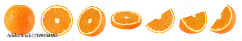 Collection of whole and sliced orange fruits on white background isolated with clipping path