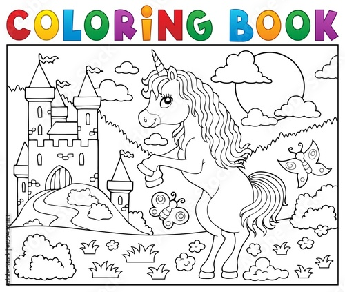 Wall Murals For Kids Coloring book standing unicorn theme 2